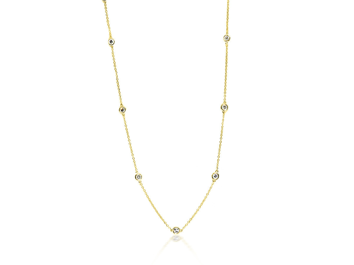 Trabert Goldsmiths .80cts Diamond Bezel DBY Yellow Gold Necklace