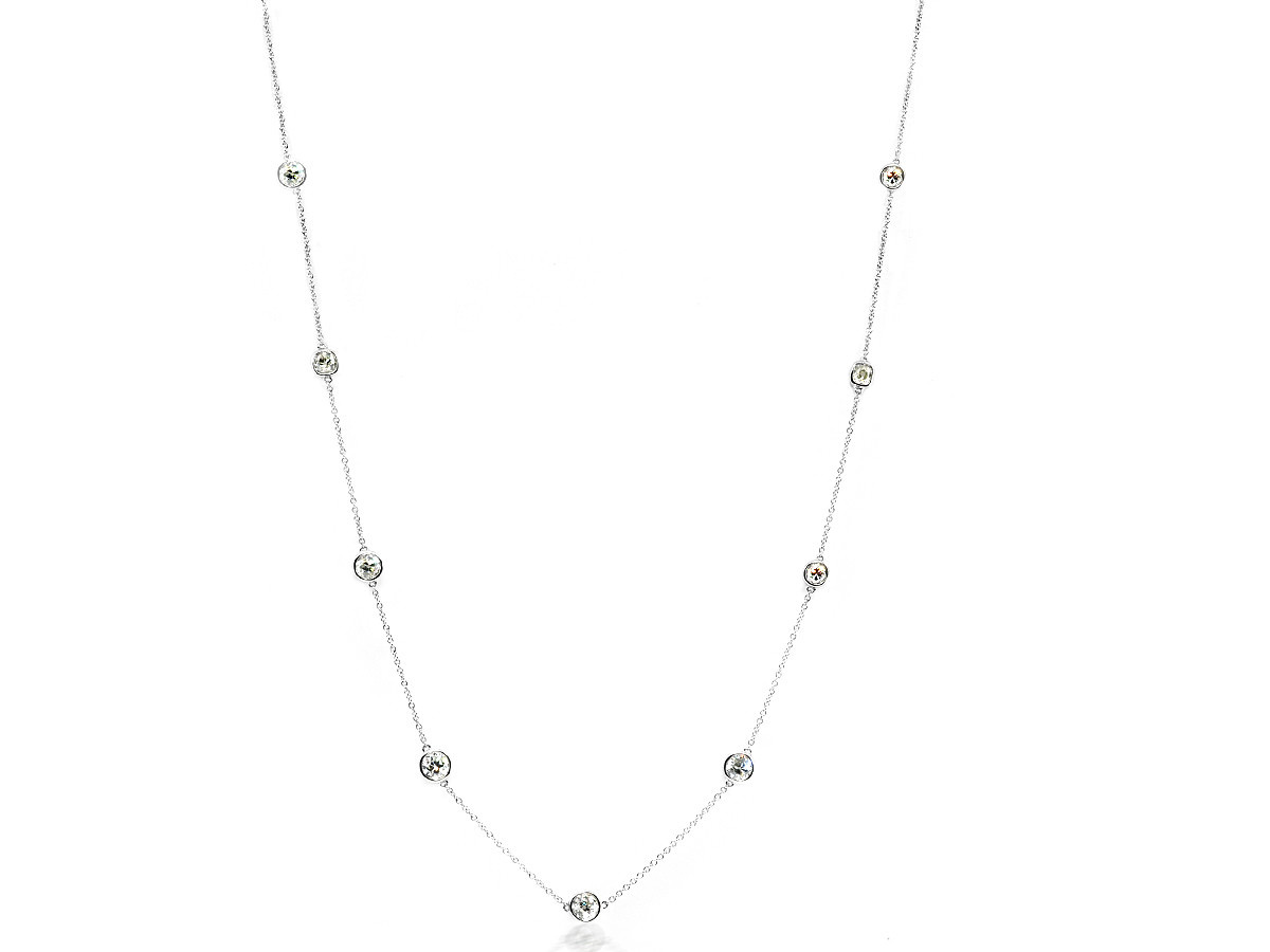 Trabert Goldsmiths 2.12cts OE Diamond Bezel DBY Platinum Necklace
