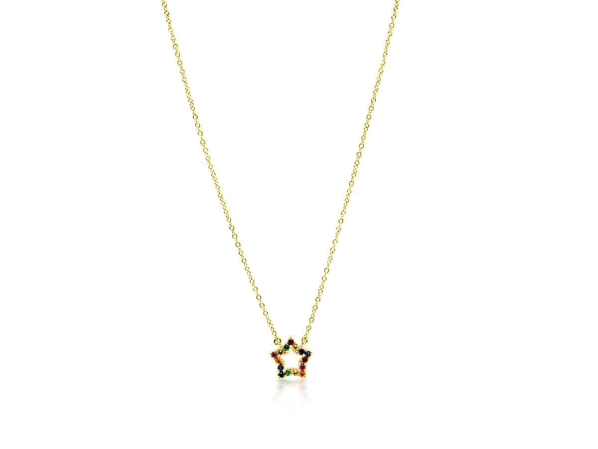 Trabert Goldsmiths Rainbow Sapphire Star Pendant