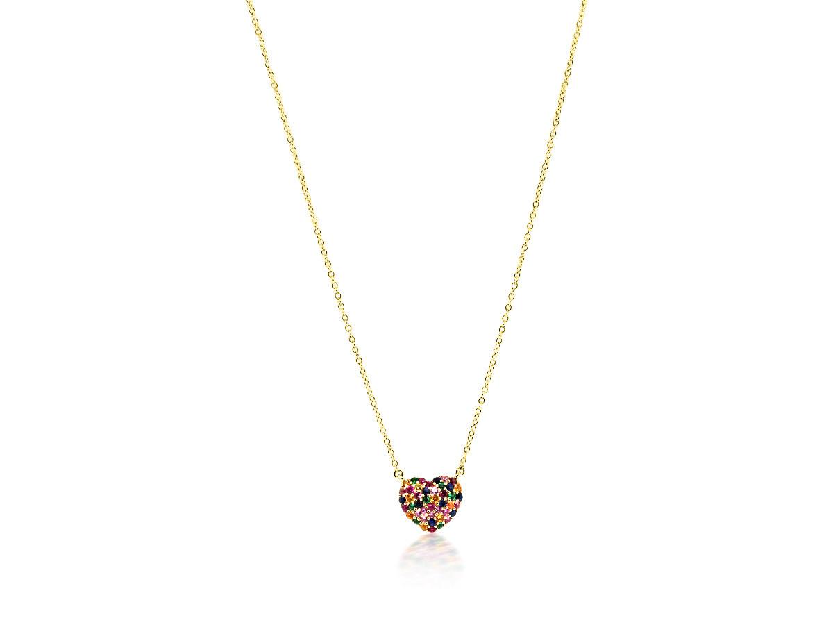 Trabert Goldsmiths Rainbow Sapphire Heart Pendant