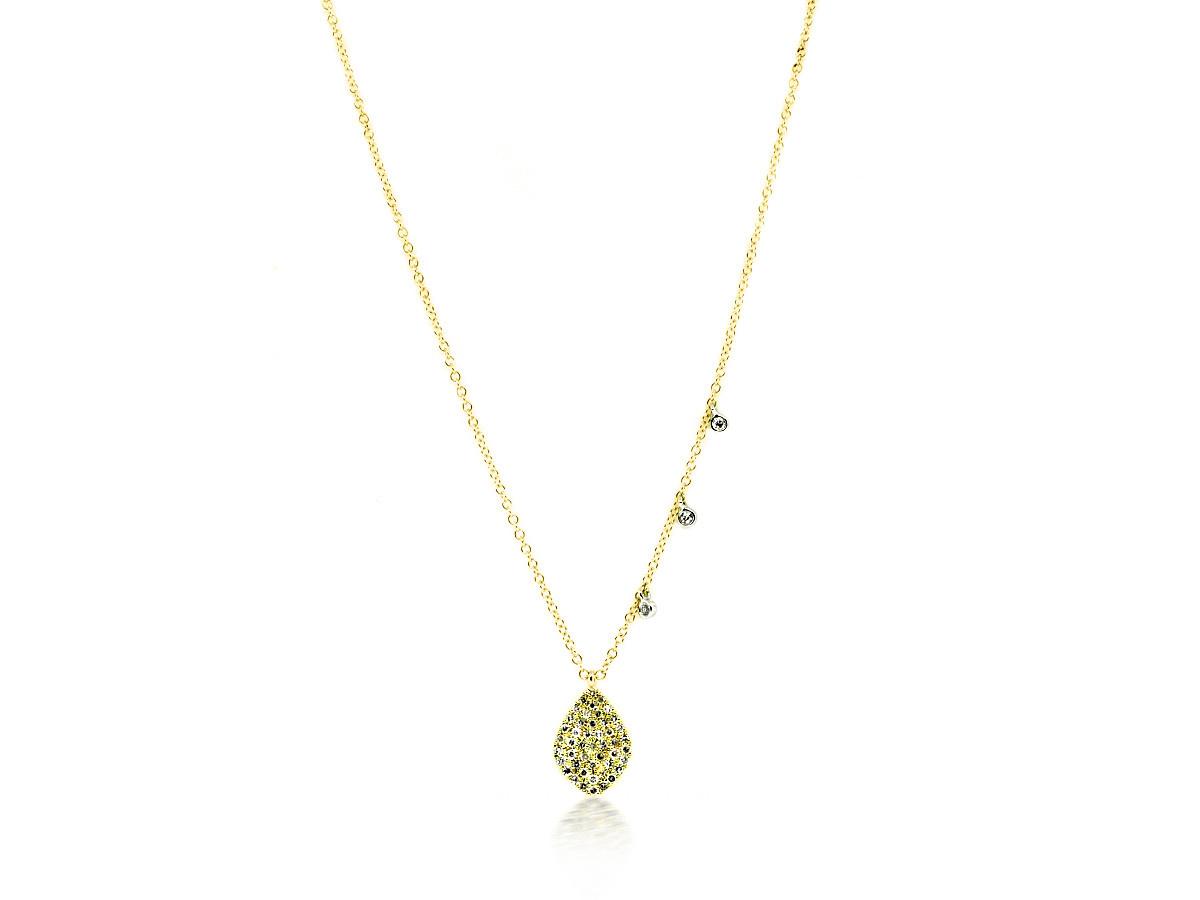 MeiraT Designs Diamond Pave Leaf Charm Necklace