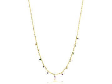 MeiraT Designs Tiny Rainbow Sapphire Bezel Necklace MRT21