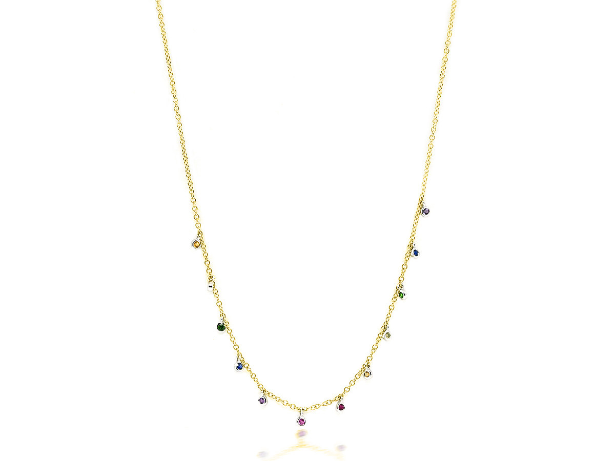 MeiraT Designs Tiny Rainbow Sapphire Bezel Necklace