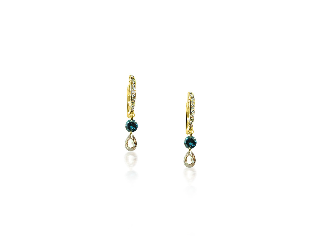 MeiraT Designs Tiny Pave Hoop Teal Diamond Earrings MRT22
