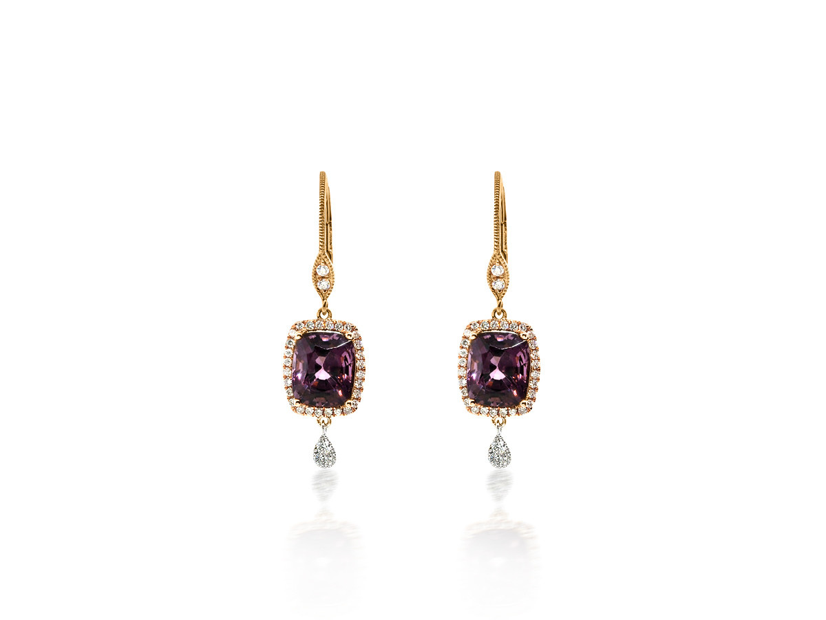 MeiraT Designs Purple Spinel Diamond Earrings