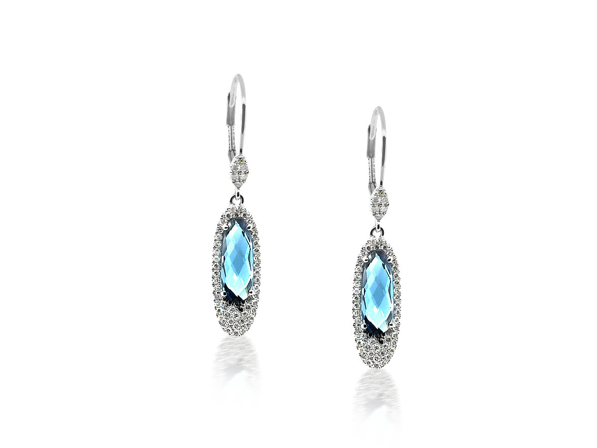 MeiraT Designs Diamond Pave Oval Drop Blue Topaz Earrings