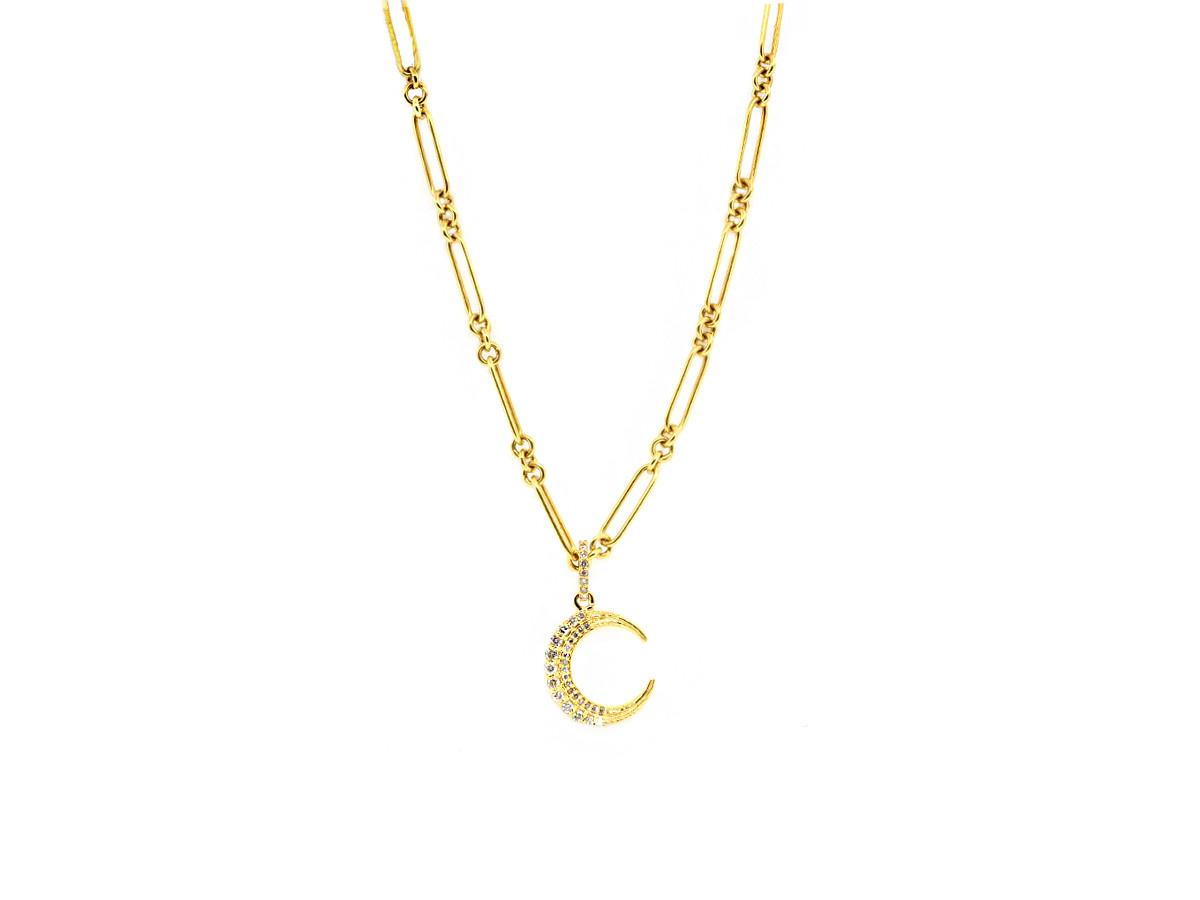 Trabert Goldsmiths Long Gold Crescent Moon Necklace