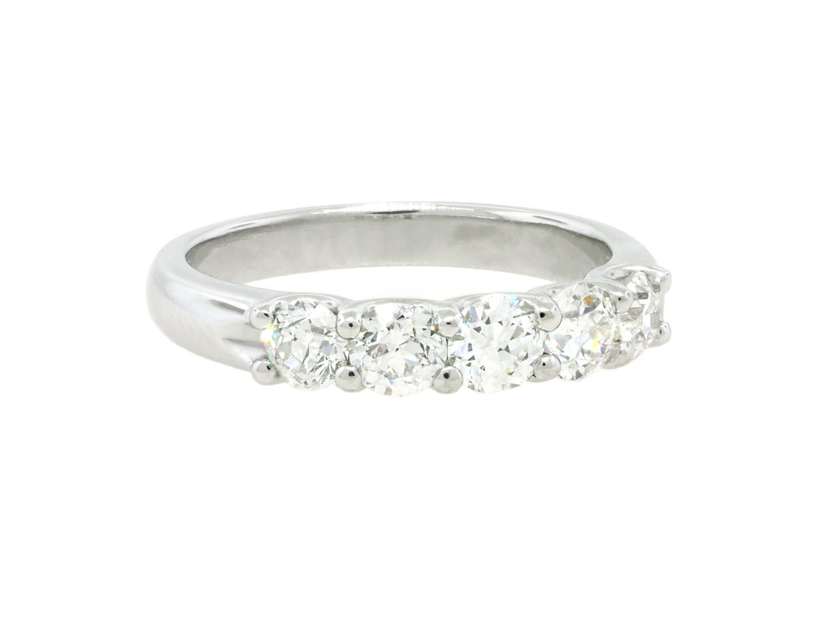 Trabert Goldsmiths 5 Stone Old European Cut Diamond Ring