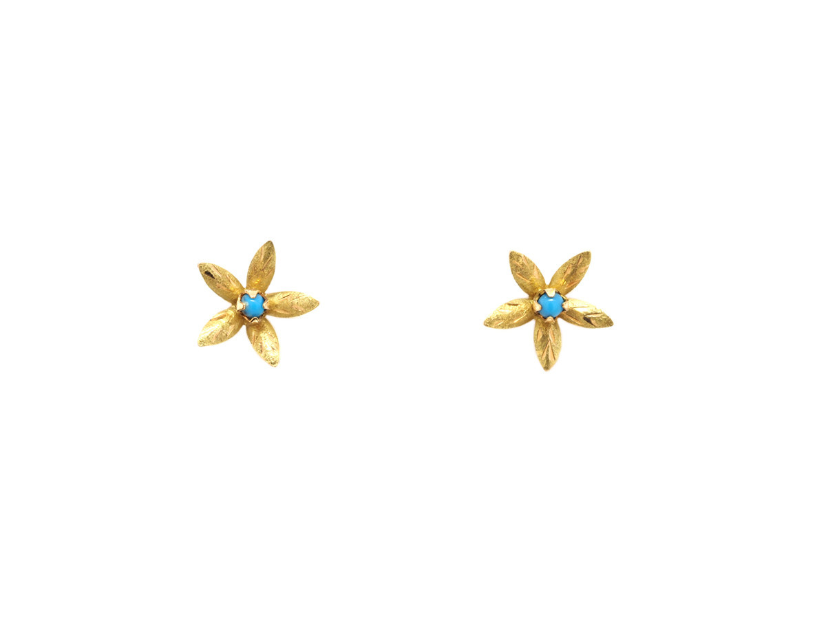 Trabert Goldsmiths Vintage Gold and Turquoise Flower Earrings