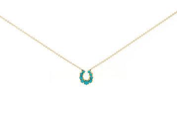Trabert Goldsmiths Antique Turquoise Horseshoe Necklace E2107