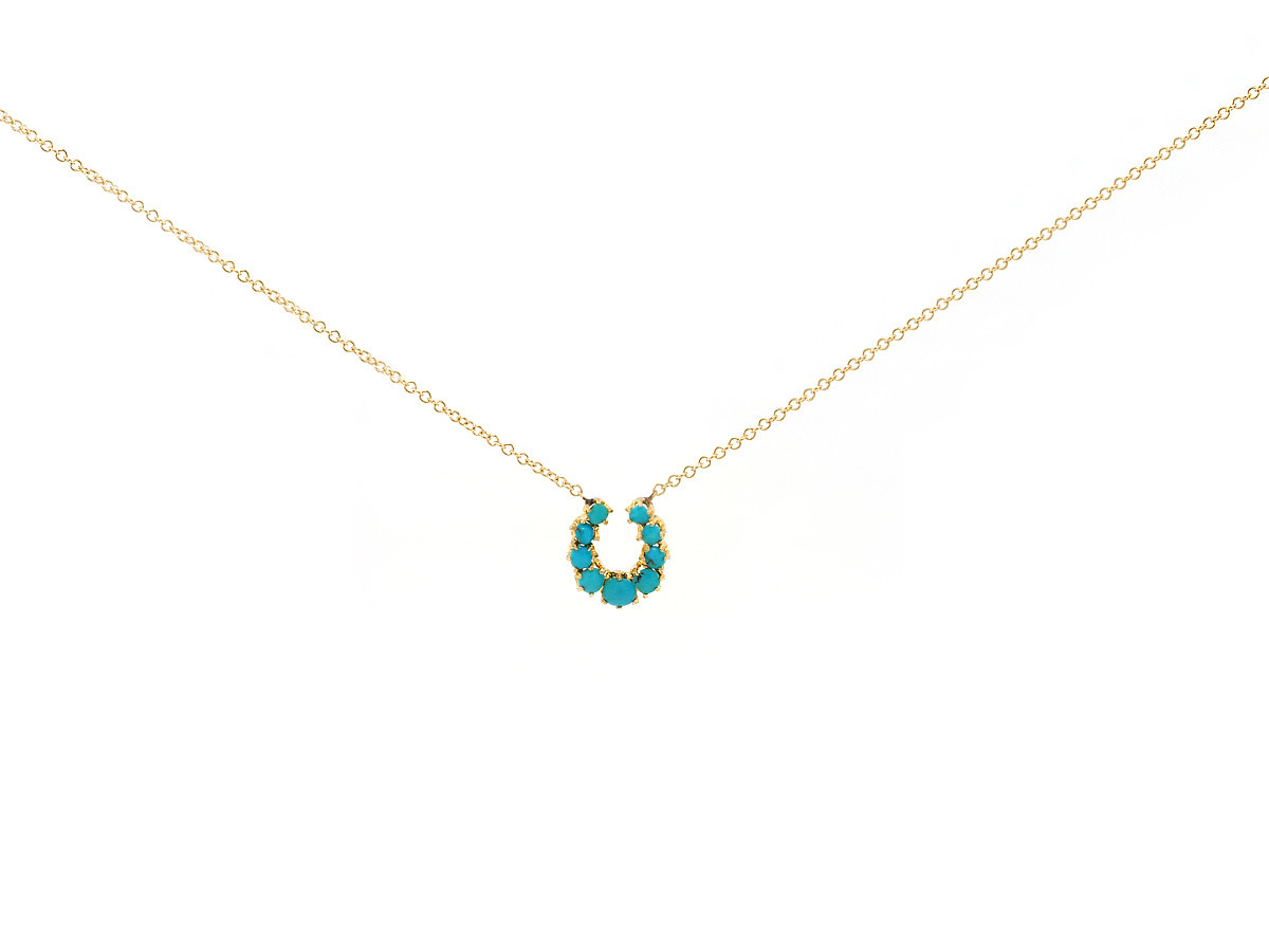 Trabert Goldsmiths Antique Turquoise Horseshoe Necklace