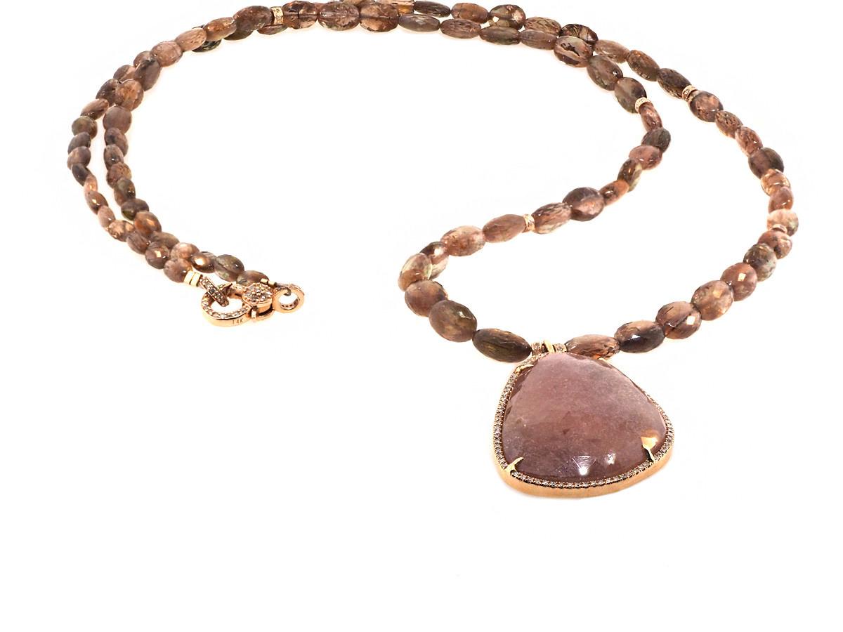 Trabert Goldsmiths Pink Sapphire and Pave Diamond Necklace