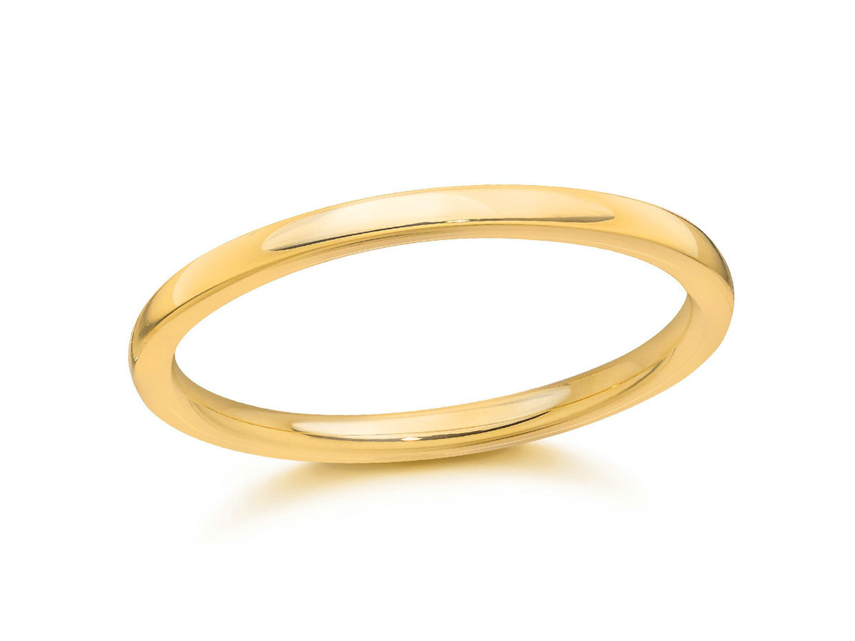 Trabert Goldsmiths 18ky Gold 2mm Half Round Band