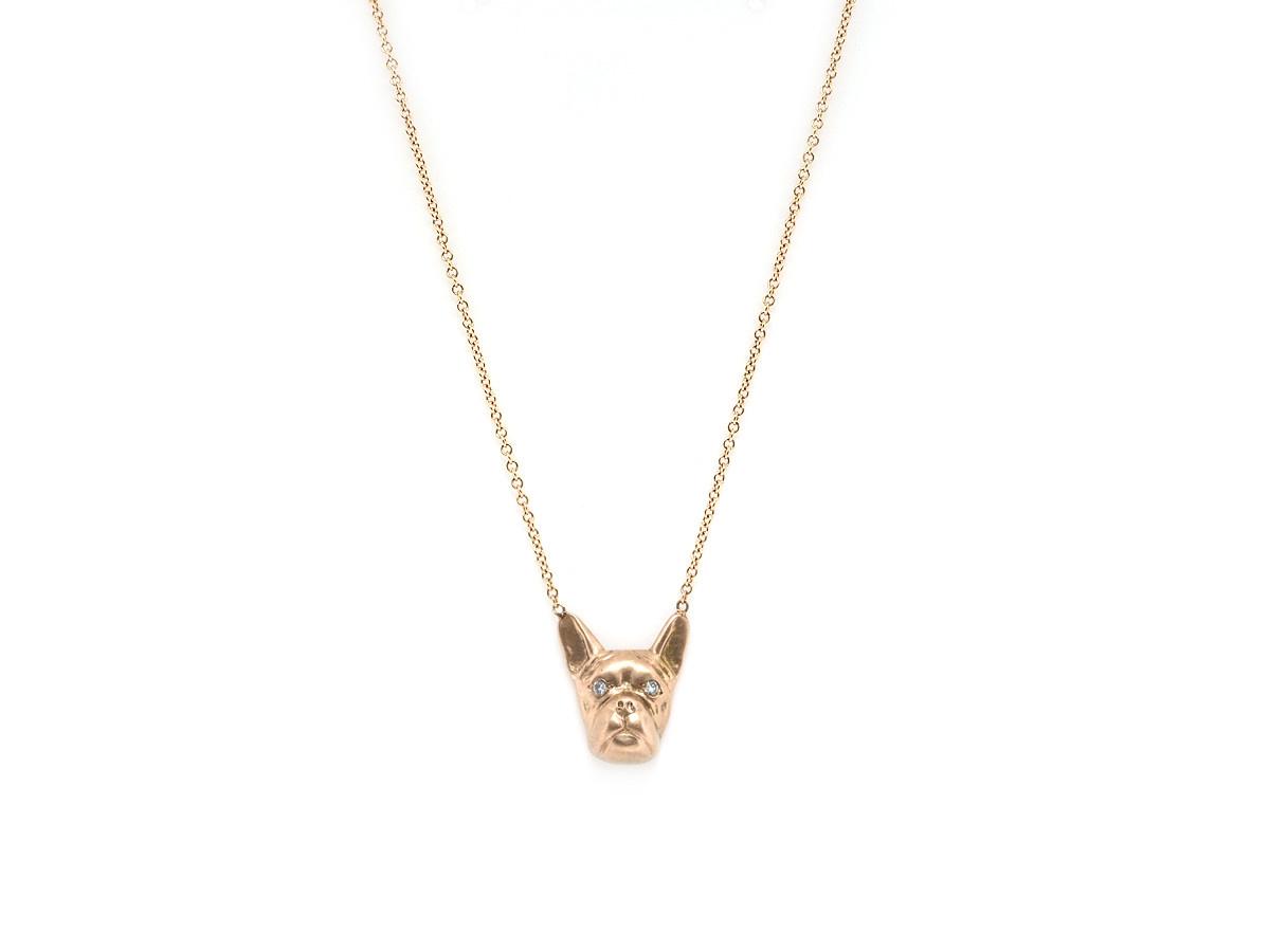 Trabert Goldsmiths French Bulldog Rose Gold Remy Pendant