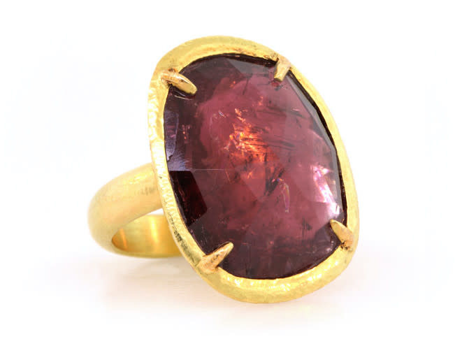 Trabert Goldsmiths Rosecut Pink Tourmaline Yellow Gold Ring