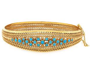 Vintage Yellow Gold & Turq Bracelet E1875
