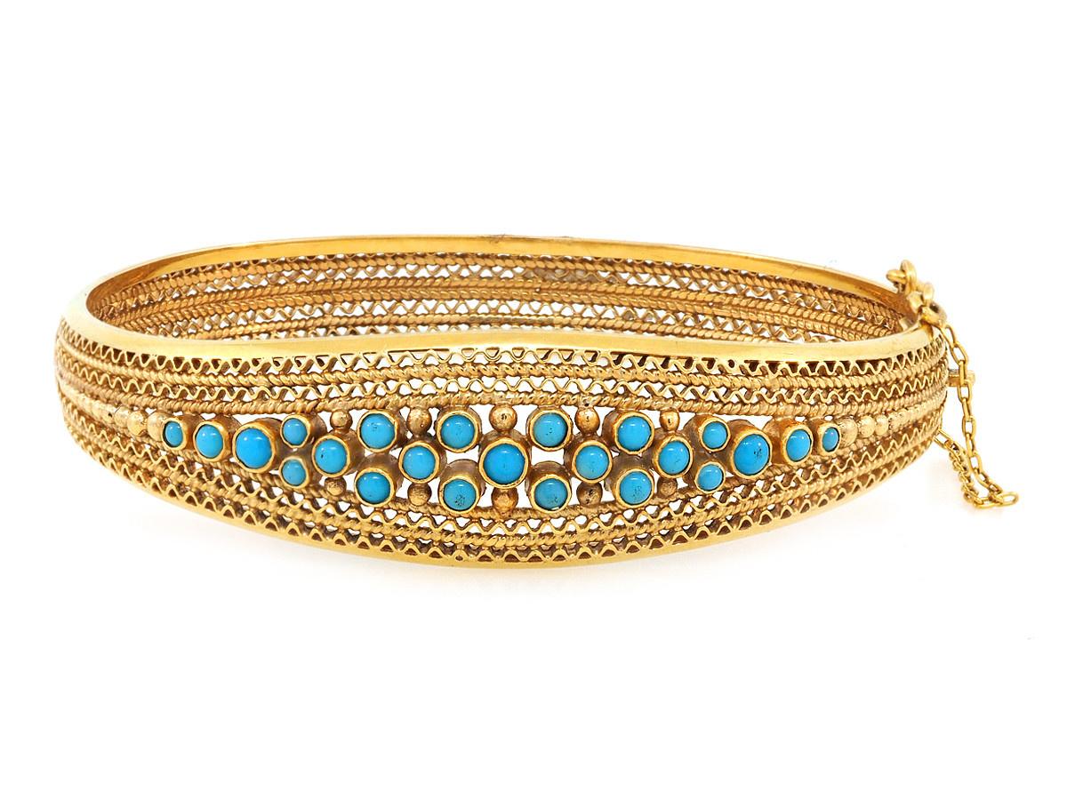 Trabert Goldsmiths Vintage Yellow Gold & Turquoise Bracelet