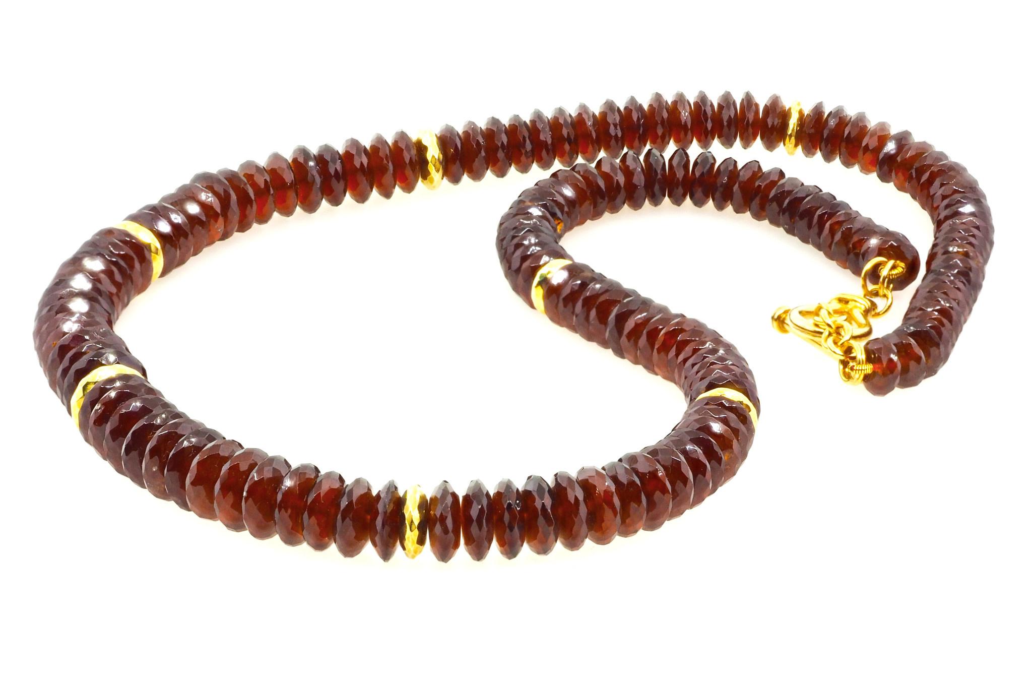 Trabert Goldsmiths Garnet Disc Necklace