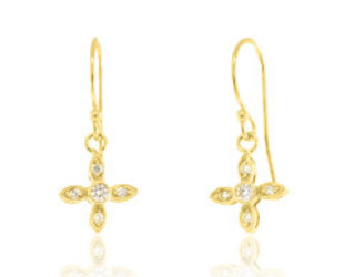 Beverley K Collection Diamond Pave Petal Earrings AB511