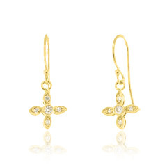 Beverley K Collection Diamond Pave Petal Earrings