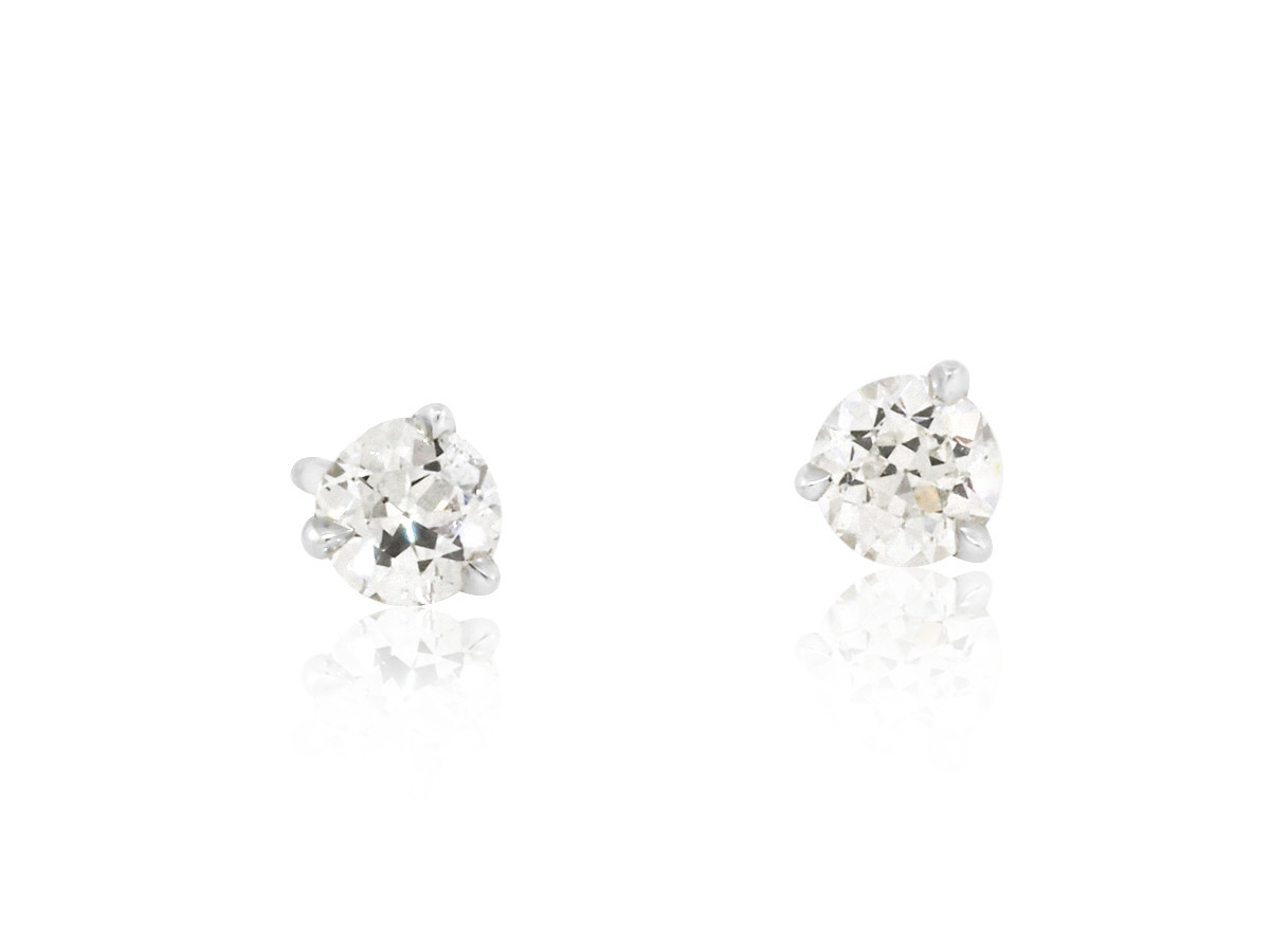 Trabert Goldsmiths 0.50cts Old European FVS Diamond Earrings