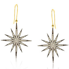 Trabert Goldsmiths Diamond Pave Starburst Earrings