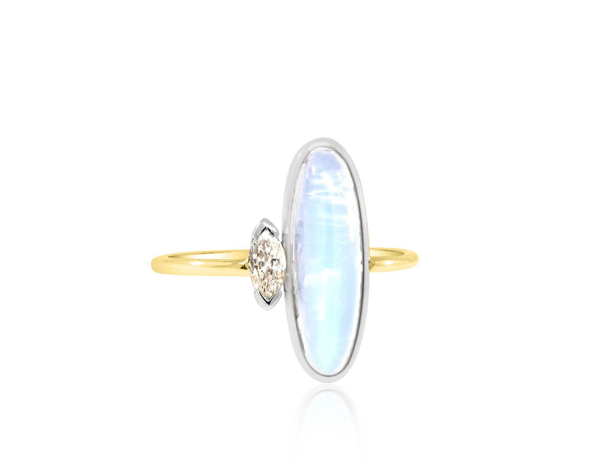 Trabert Goldsmiths Antique Edwardian Moonstone and Diamond Ring