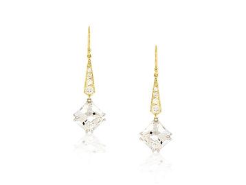Trabert Goldsmiths Deco Diamond and White Quartz Drop Earrings E2111