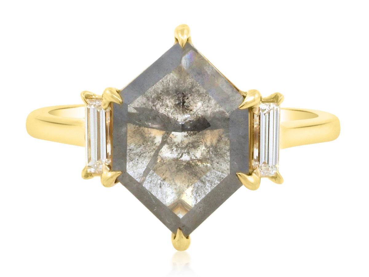 Trabert Goldsmiths Grey Diamond Hexagon Yellow Gold Ring