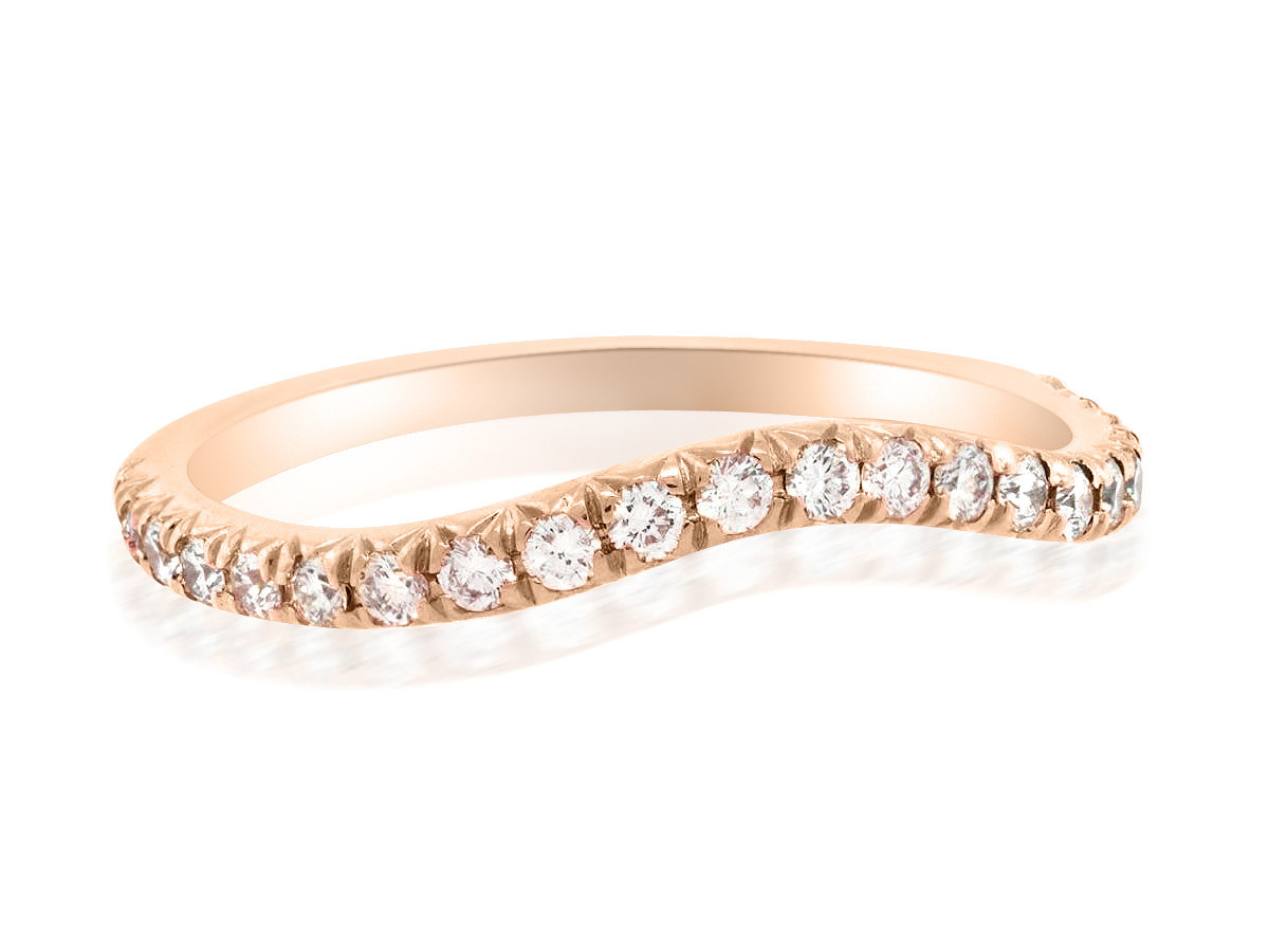 Trabert Goldsmiths Curved Pave Diamond Rose Gold Band