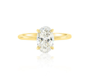 Trabert Goldsmiths 1.50ct Oval Diamond Aura Yellow Gold Ring E2104