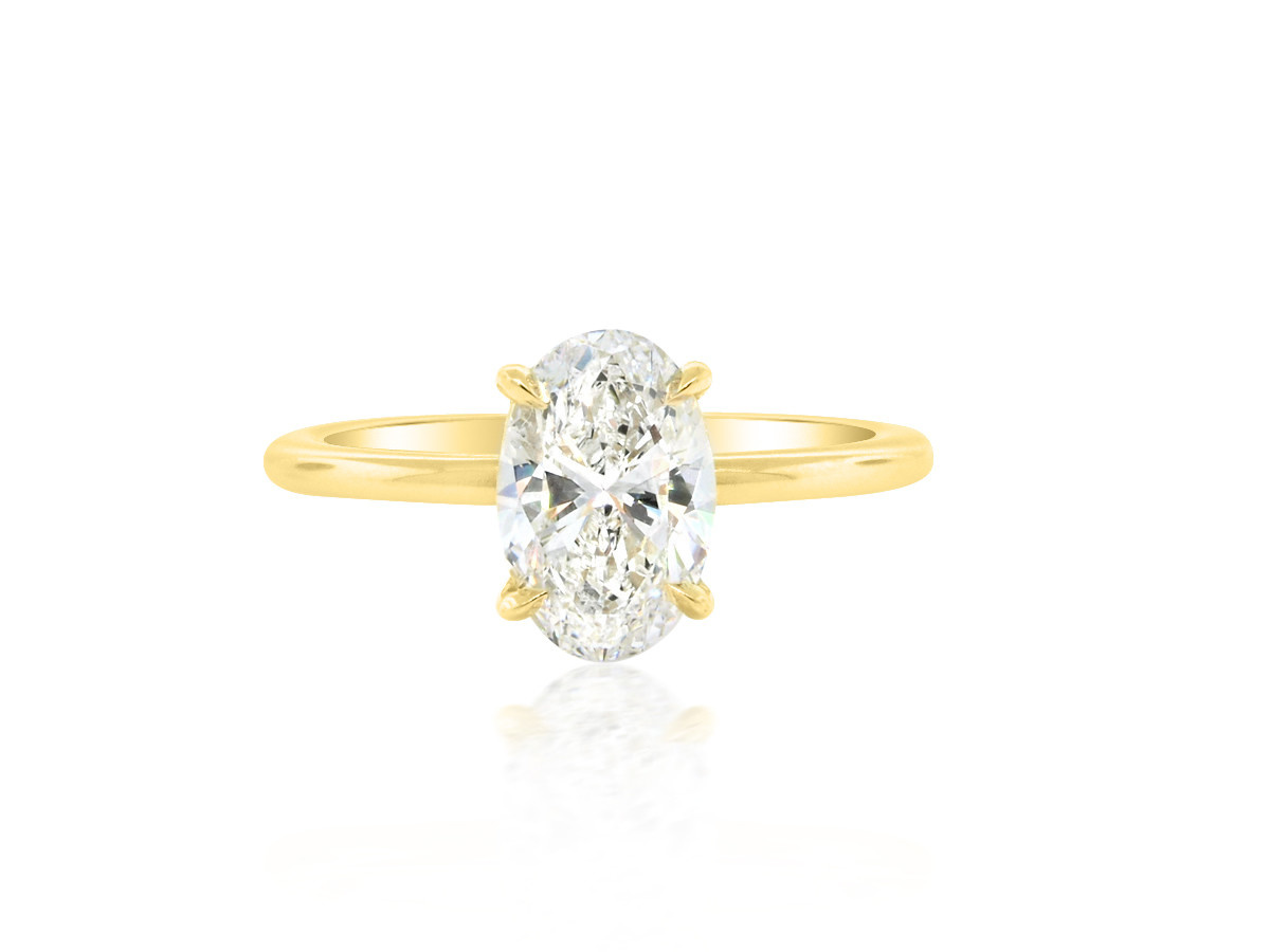 Trabert Goldsmiths 1.50ct Oval Diamond Aura Yellow Gold Ring