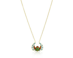 Trabert Goldsmiths Antique Enamel Scarab Pendant E2080