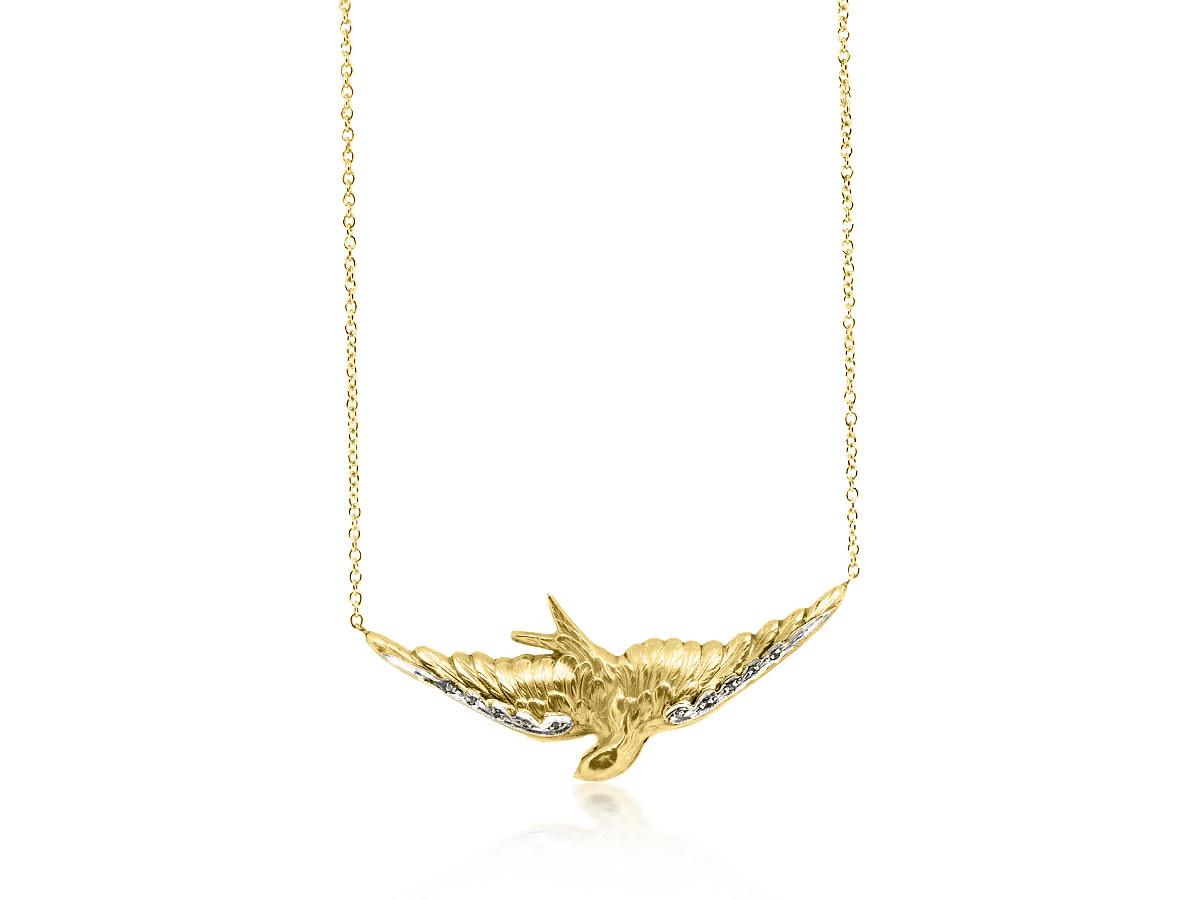 Trabert Goldsmiths Antique Victorian Gold Bird Necklace