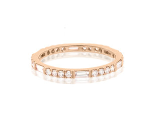 Trabert Goldsmiths Thin Horizon Line Diamond Rose Gold Band E2096