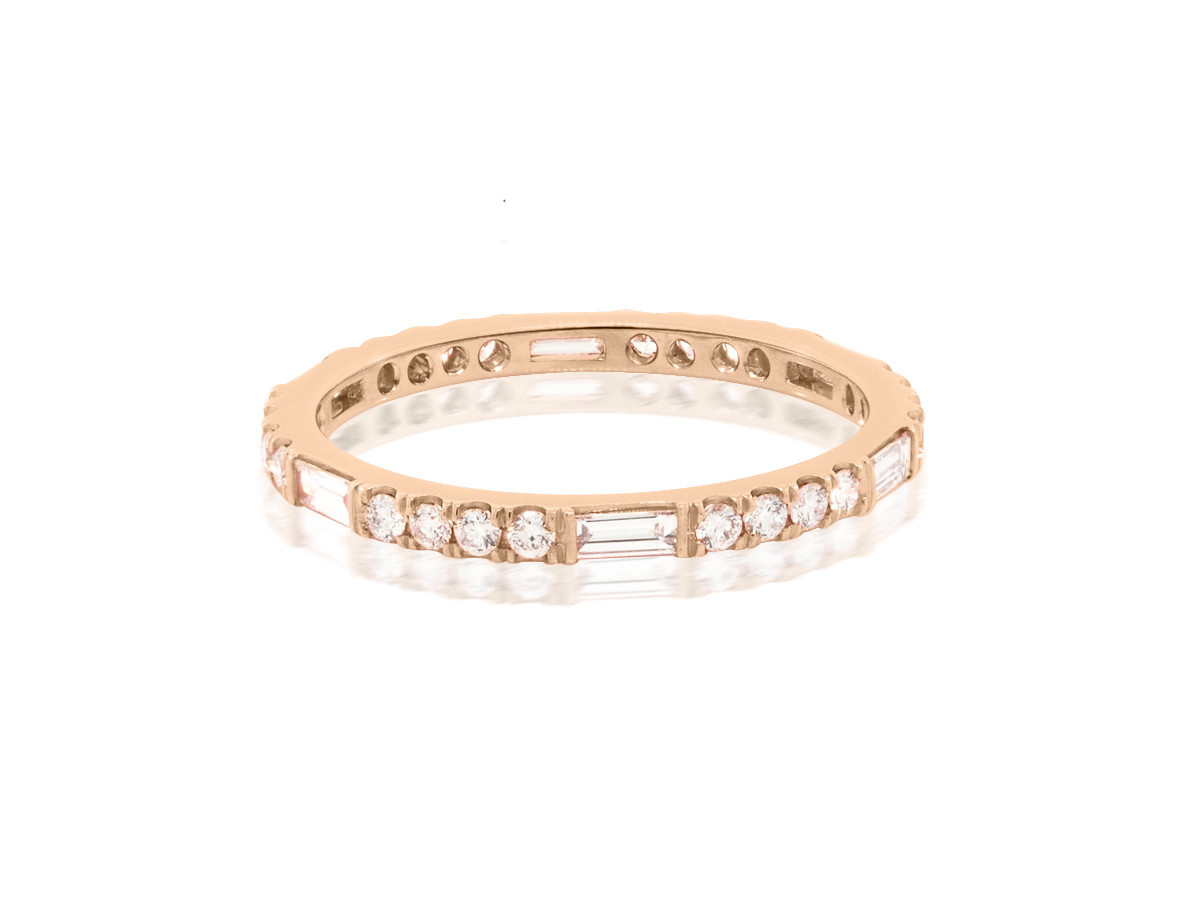 Trabert Goldsmiths Thin Horizon Line Diamond Rose Gold Band