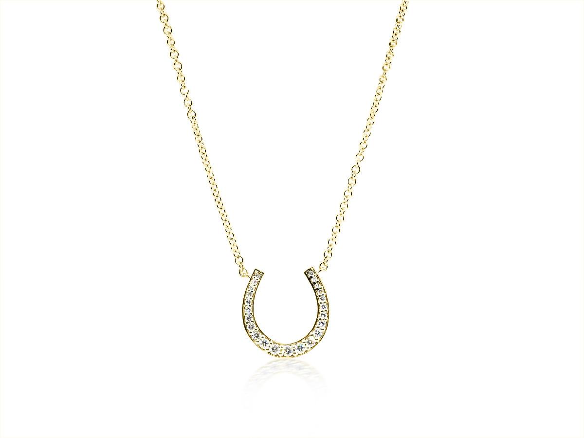 Trabert Goldsmiths Diamond Horseshoe Yellow Gold Pendant