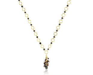 Black Diamond Yellow Gold Necklace E2072