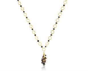 Trabert Goldsmiths Black Diamond Yellow Gold Necklace E2072