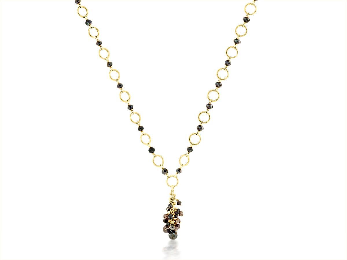 Black Diamond Yellow Gold Necklace