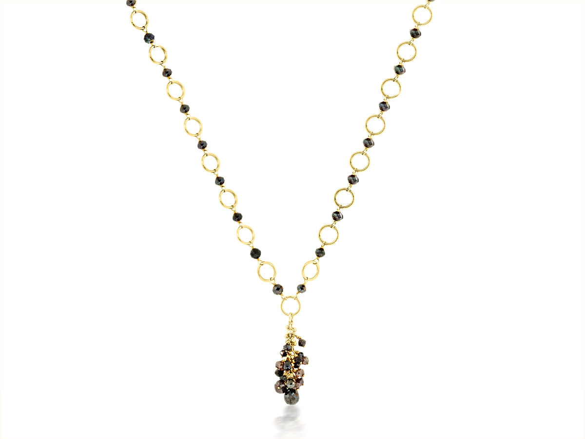 Trabert Goldsmiths Black Diamond Yellow Gold Necklace