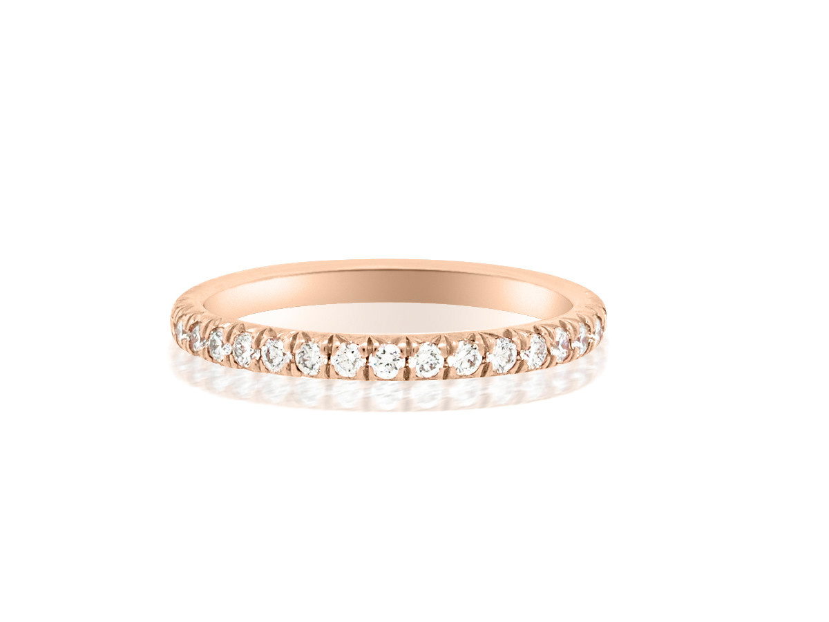 Trabert Goldsmiths 0.56cts Linea French Pave Rose Gold Eternity Band