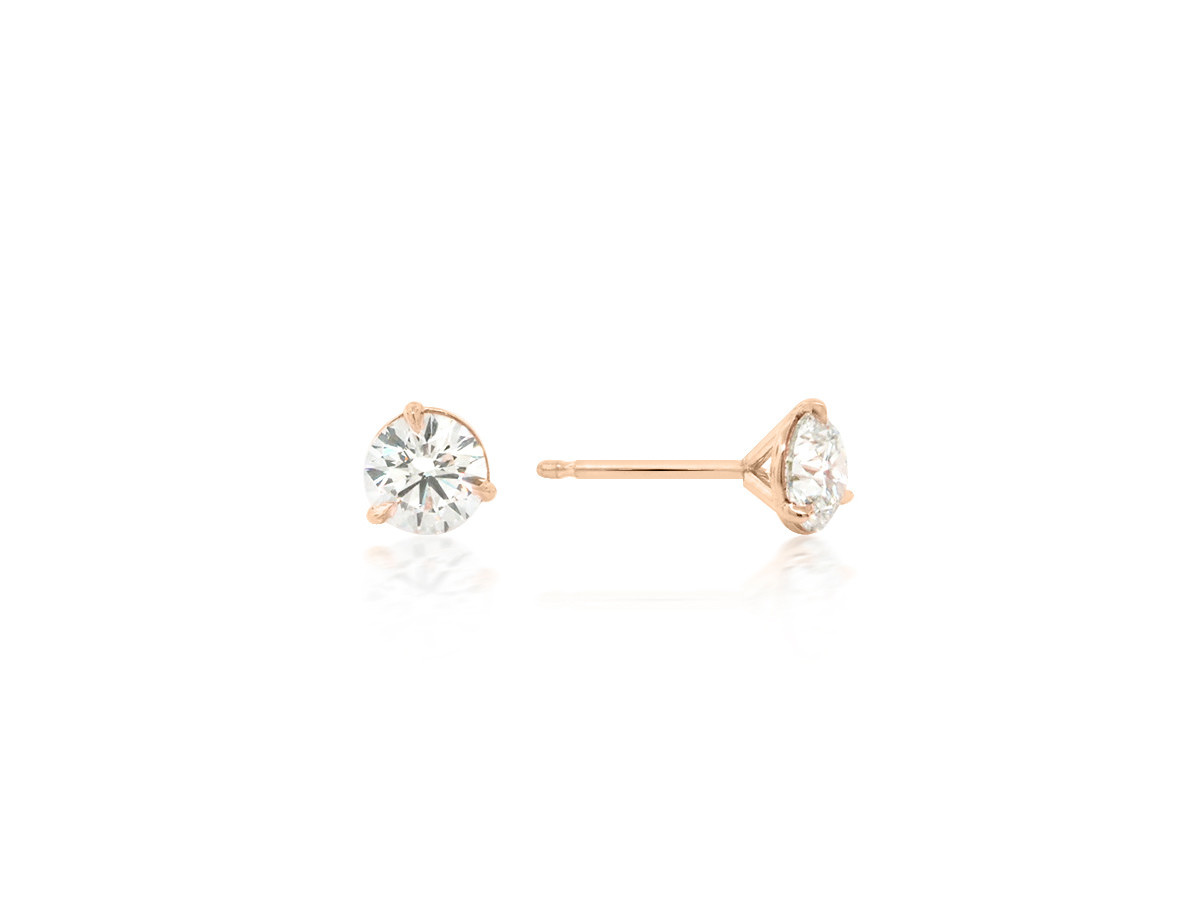 Trabert Goldsmiths 0.89 G/HSI1 Diamond Stud Rose Gold Earrings