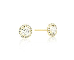 Trabert Goldsmiths 0.81ct G/HSI1 Diamond Halo Stud Earrings E2078