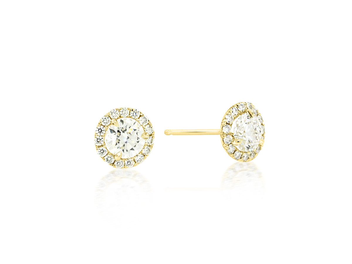 Trabert Goldsmiths 0.81ct G/HSI1 Diamond Halo Stud Earrings