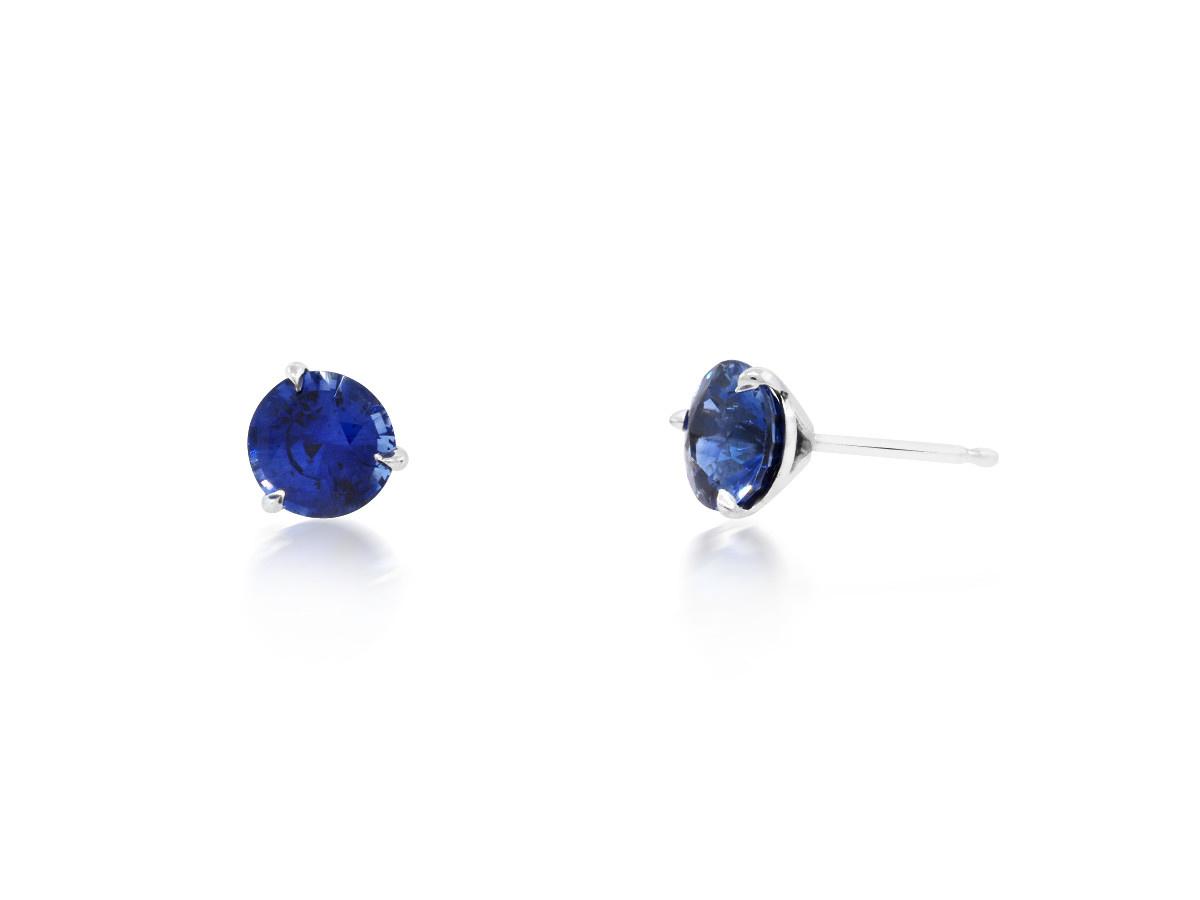 Trabert Goldsmiths 2.05ct Blue Sapphire Stud Earrings