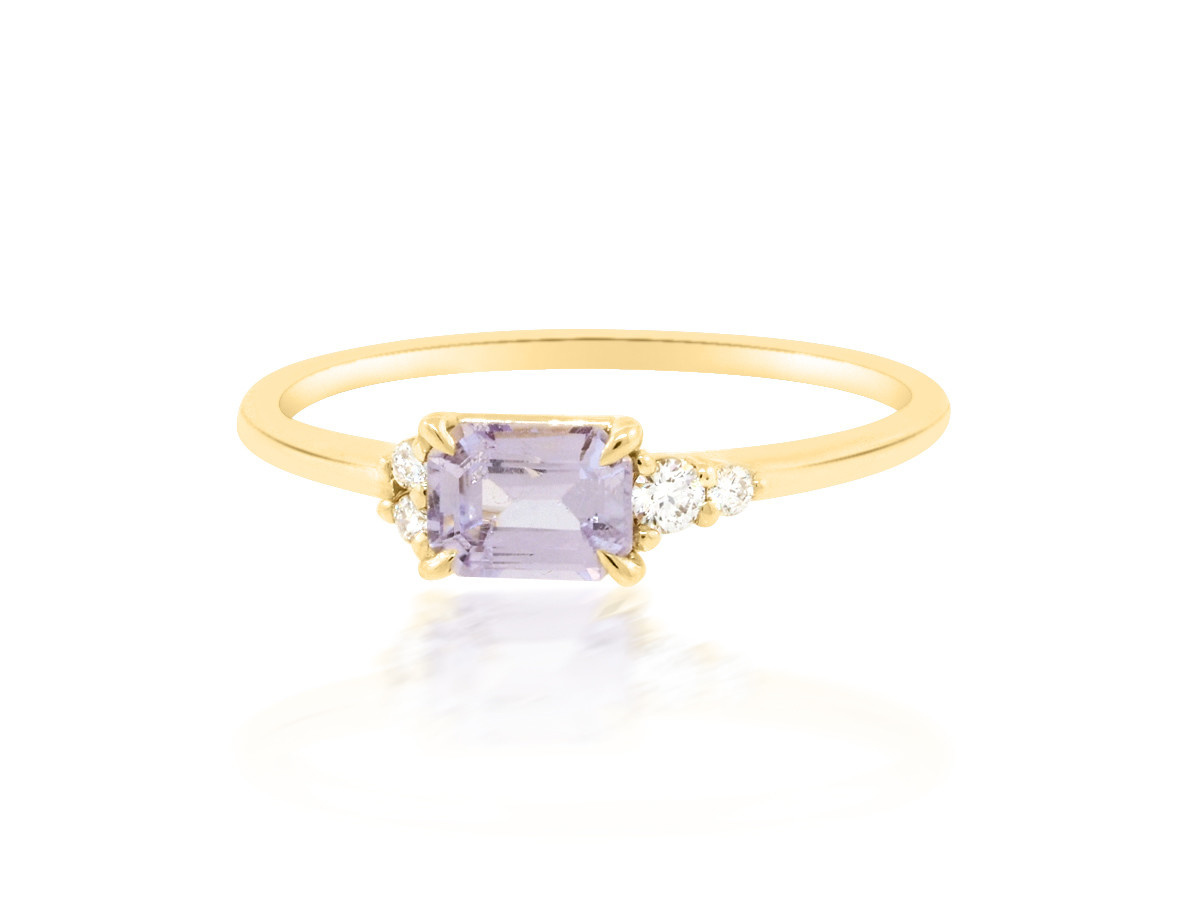 Trabert Goldsmiths 'Hydrangea' Purple Emerald Sapphire Yellow Gold Ring