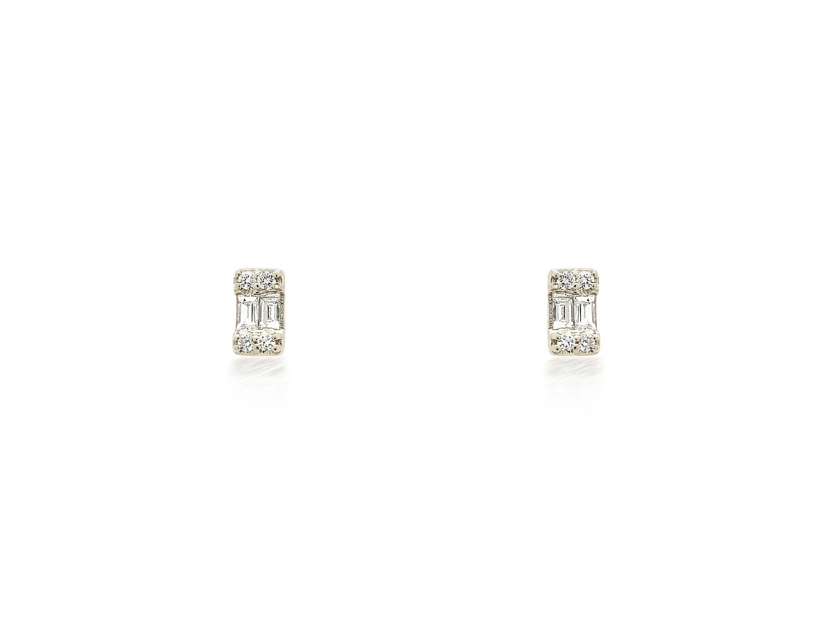 Baguette Emerald Shape White Gold Studs