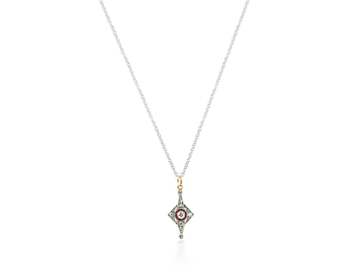 Trabert Goldsmiths Antique Deco Diamond and Ruby Pendant