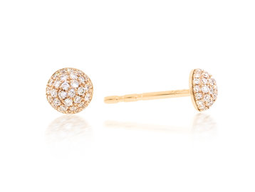 Luvente Small Pave Diamond Dome Stud Earrings LV95